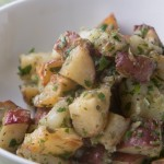 Roasted potatoes with salsa verde