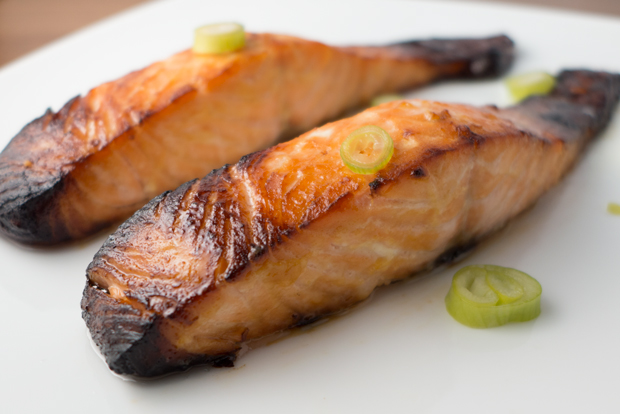 Miso-glazed grilled salmon