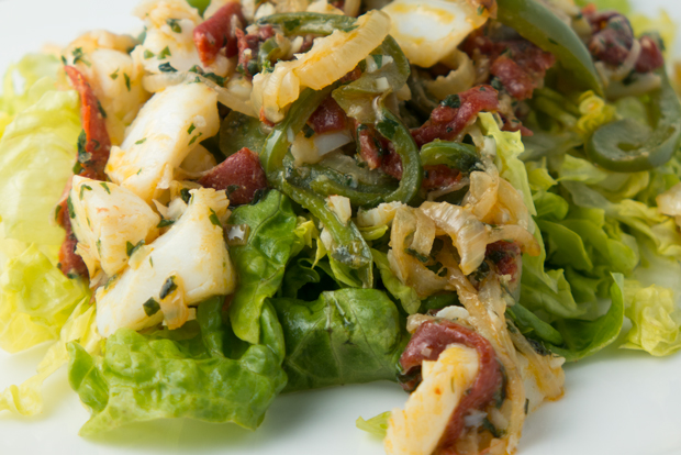 Basque-style salt cod and lettuce salad