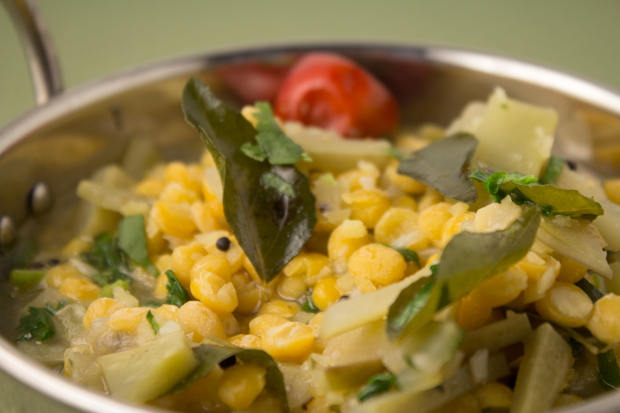 Gujarati-style chana dal with bottle gourd and curry leaves