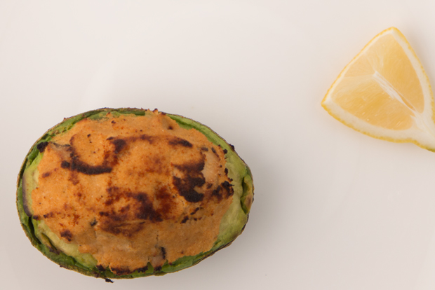 Japanese-style grilled avocado stuffed with okara