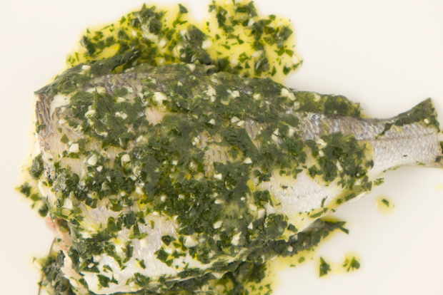Sea bream in salsa verde
