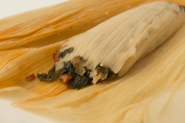 Chorizo and kale tamale