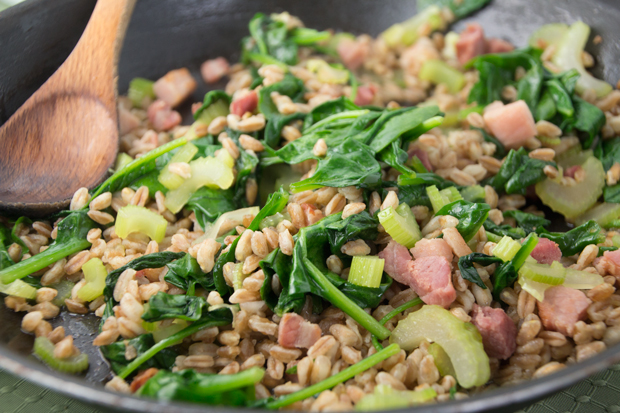 Farro with pancetta, spinach and celery